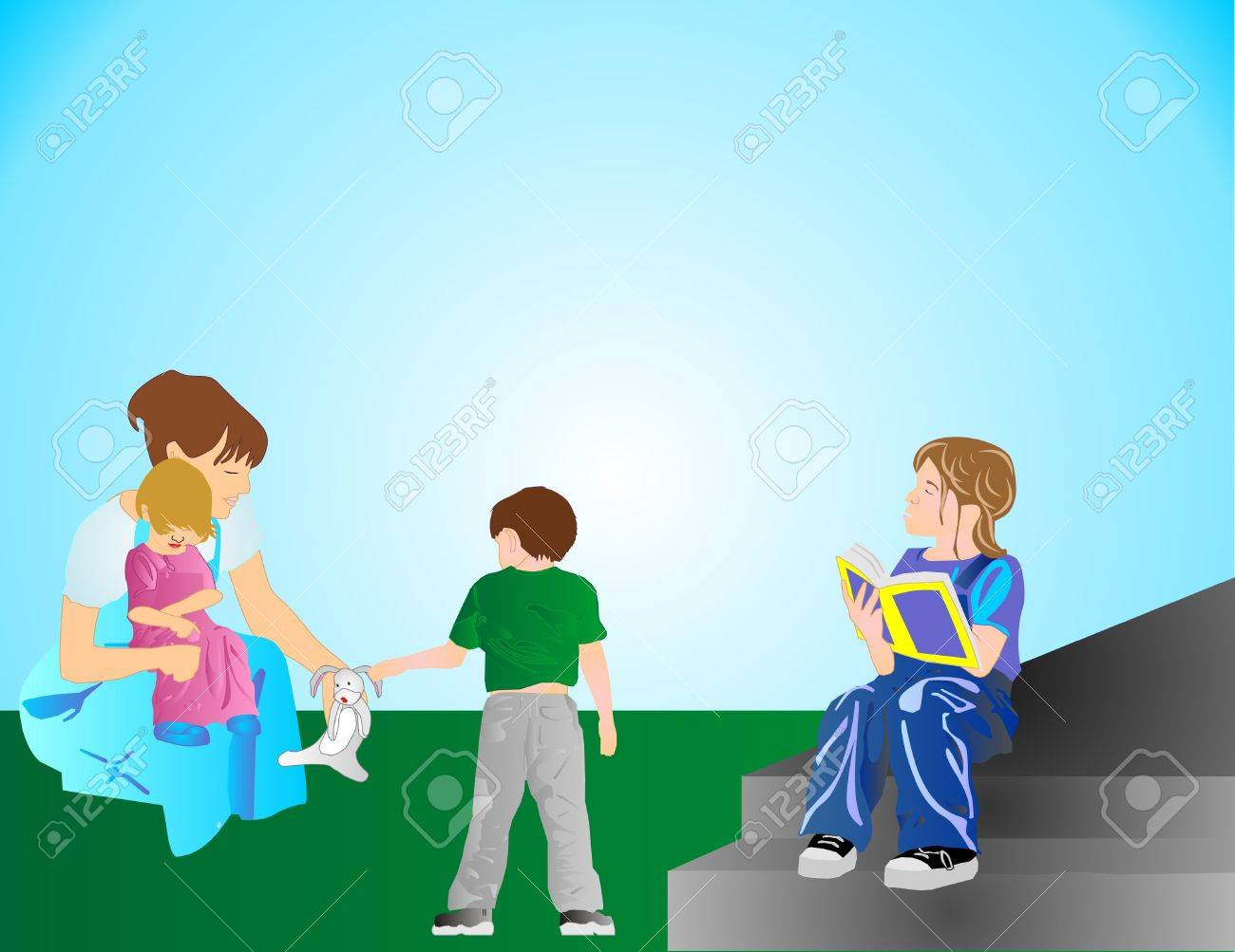 Mom is holding youngest girl and picking up Bunny for her son.  As the eldest daughter is sitting on steps reading her book. Stock Vector - 6969769