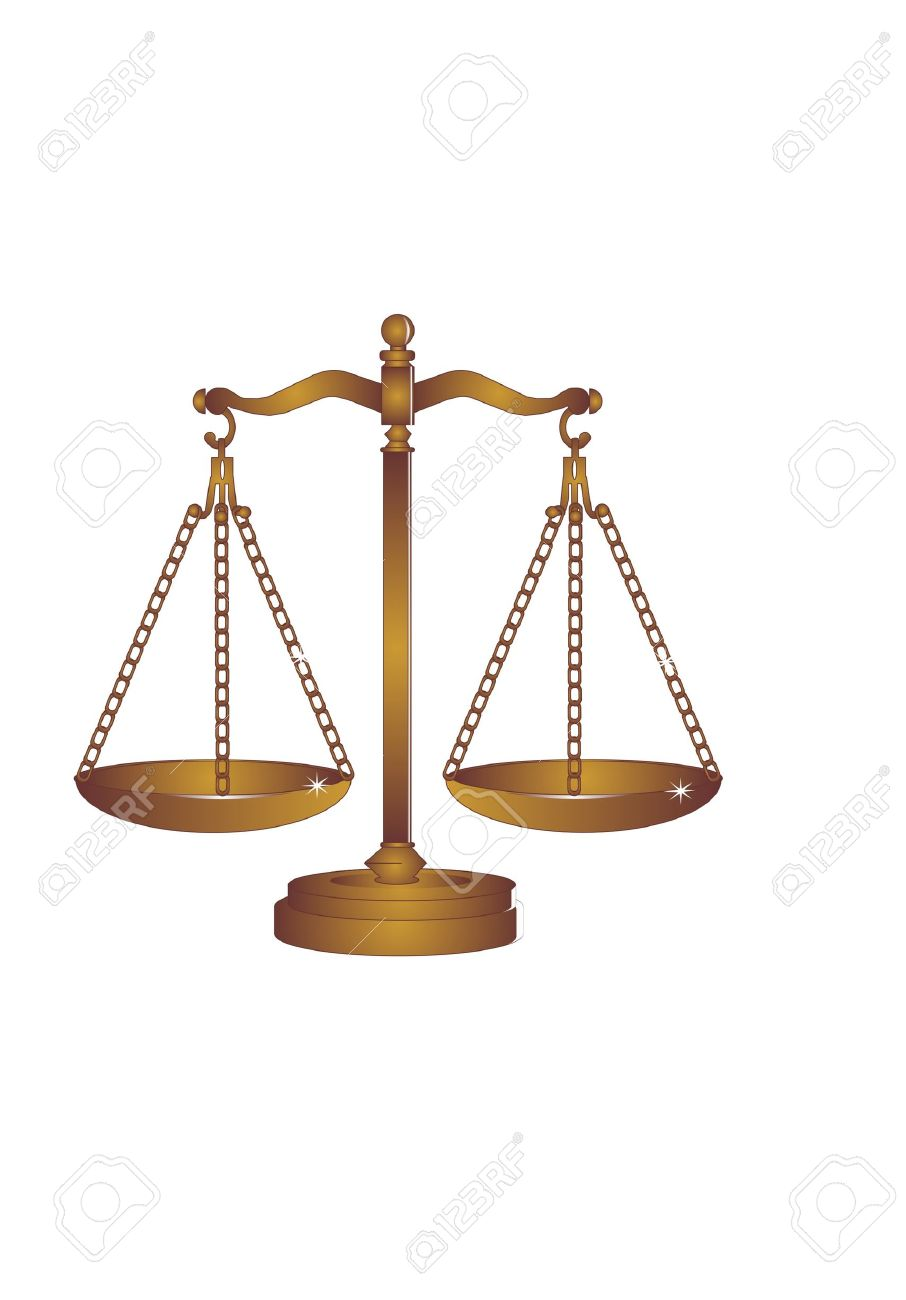 Copper or Bronze scales of justice weigh out all around Stock Vector - 7255697