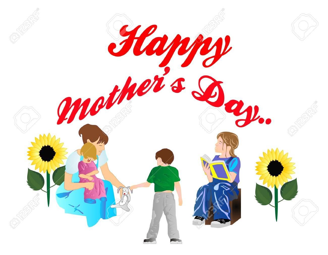 Mom holding one child, while another is getting his bunny and sister is reading to them all.  Kids celebrating their Mother!! Stock Vector - 9226547