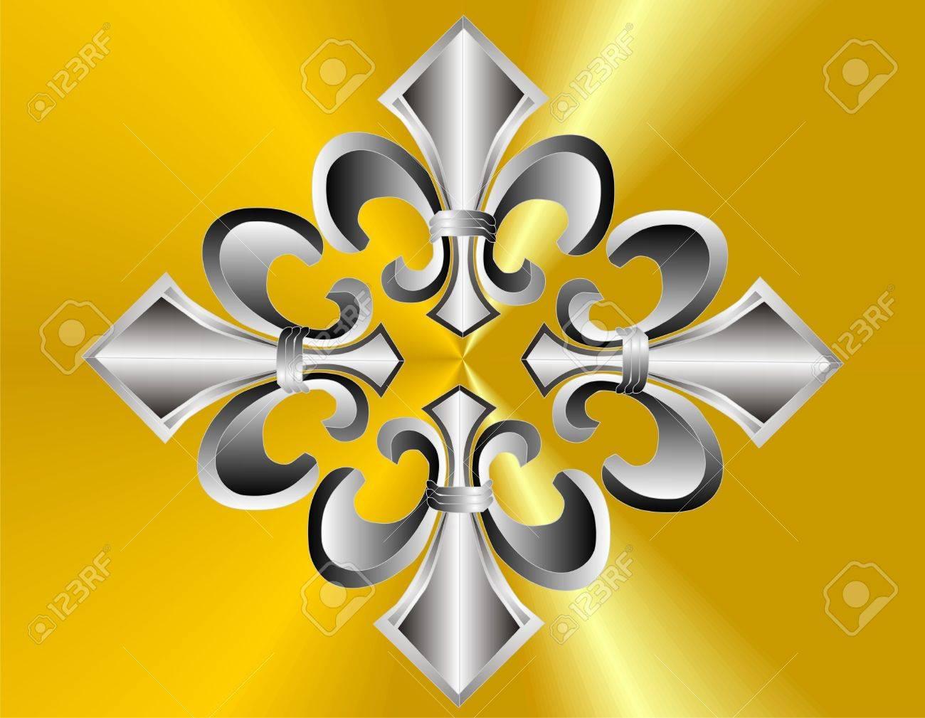Group of 4 fluer de lis on golden background Stock Vector - 9476445
