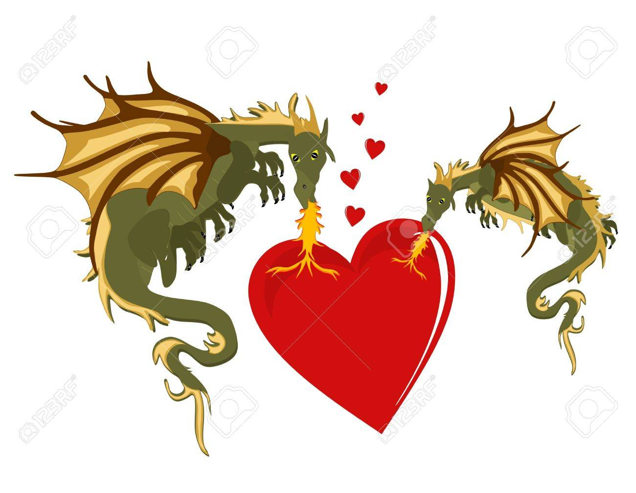 Two dragons heating up the heart with their flames of romance.. Stock Vector - 9716985