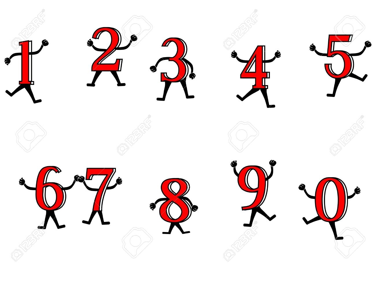 Fun with numbers. Primary numbers, dancing and playing around, to excite the learning of them. Stock Vector - 12491218