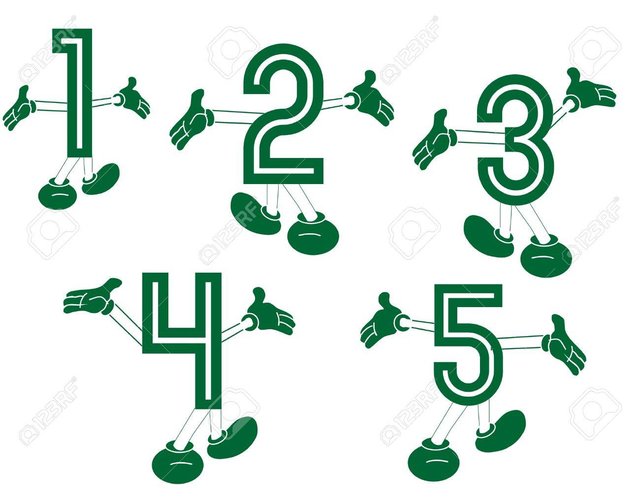 Primary numbers made for fun   Fun with numbers  Primary numbers, dancing and playing around, to excite the learning of them In a  two series set Stock Vector - 12822375