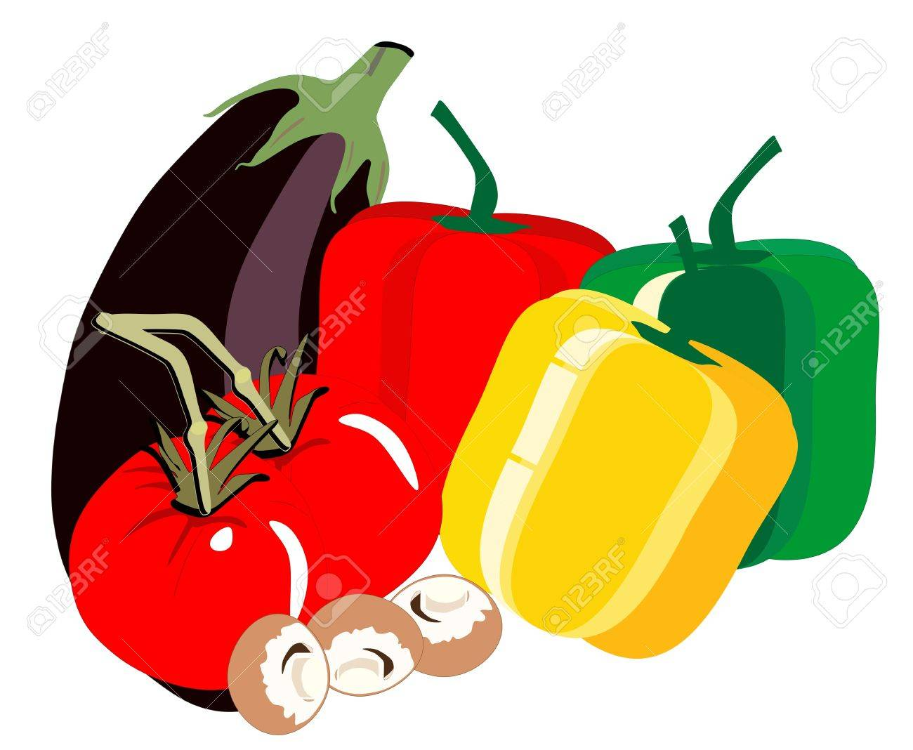 Delicious fresh vegatables, with egg plant, tomatoes, bell peppers of various colours and mushrooms, in a illustration Stock Vector - 12834158