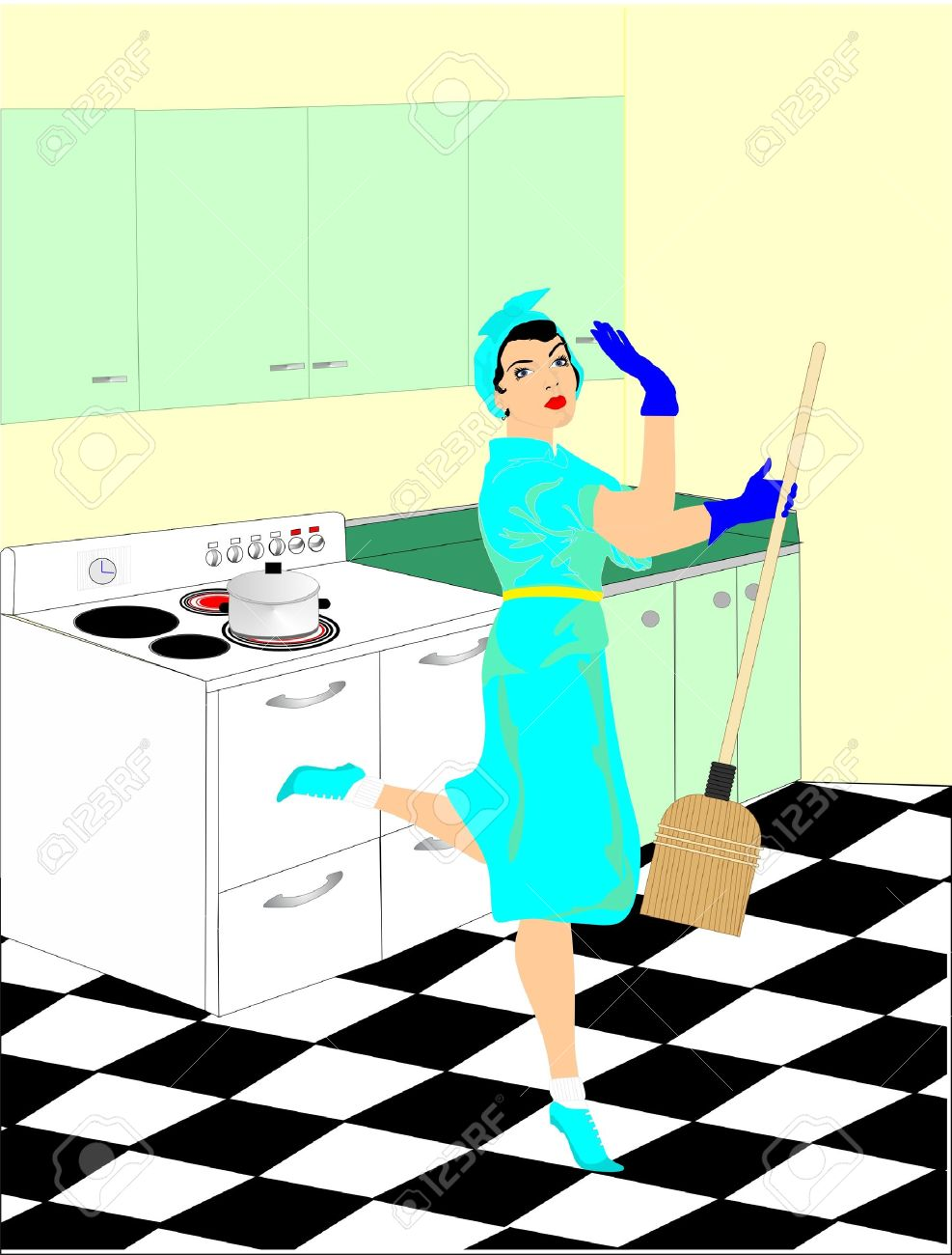 Eine Frau In Der 50 S Macht Ihre Hausarbeit In Der Kuche Aufraumen