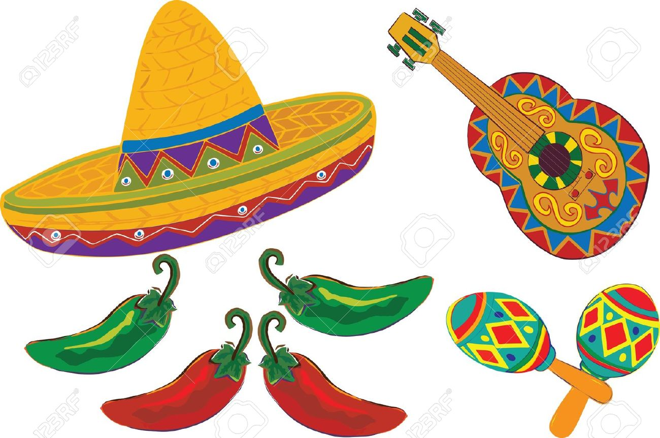 Sombrero Guitar Maracas Peppers Isolated On A White Background Royalty Free Cliparts Vectors And Stock Illustration Image 12480933