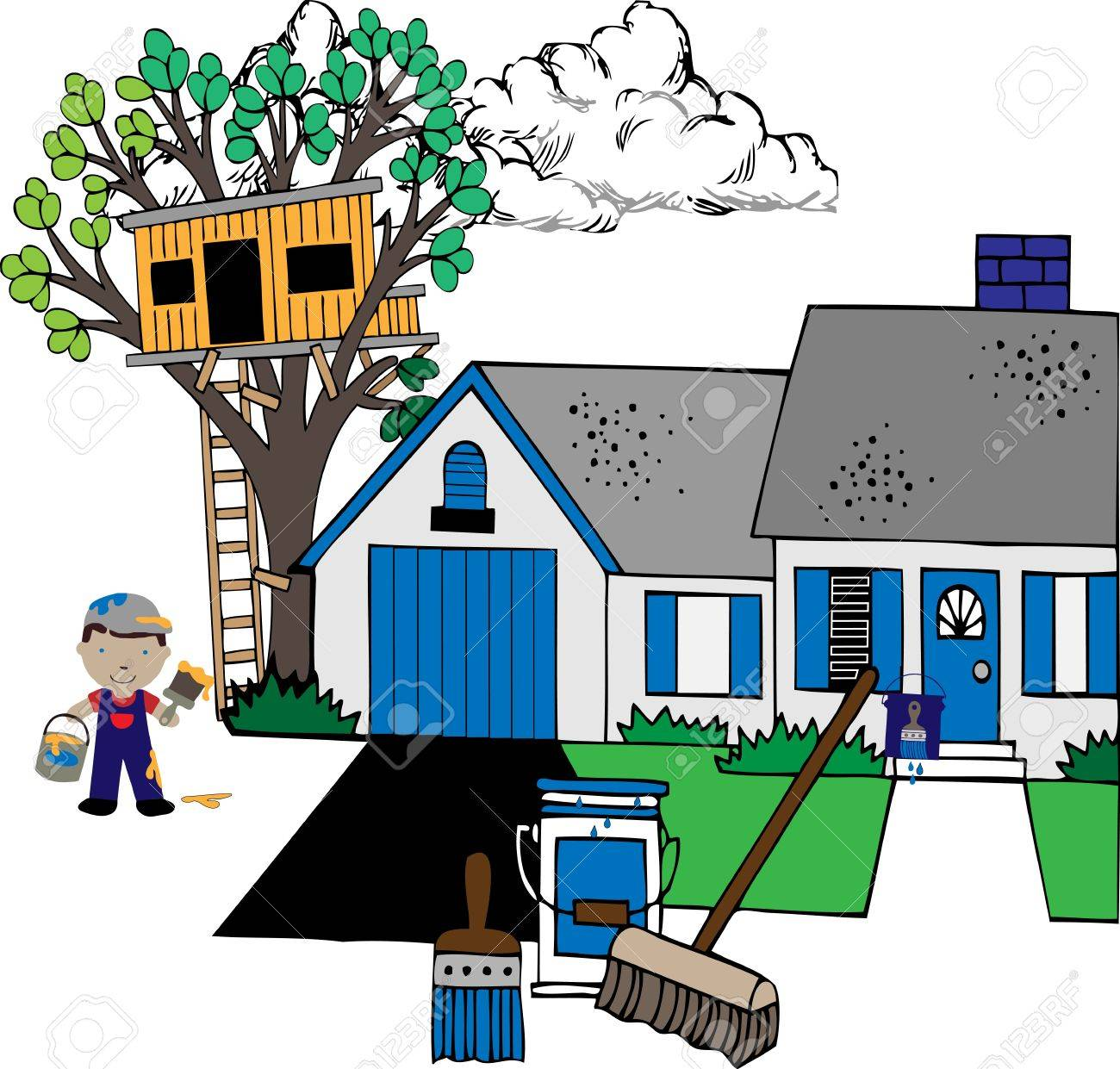 Painting the house with paints, house, treehouse, painter, supplies illustration Stock Vector - 13927384