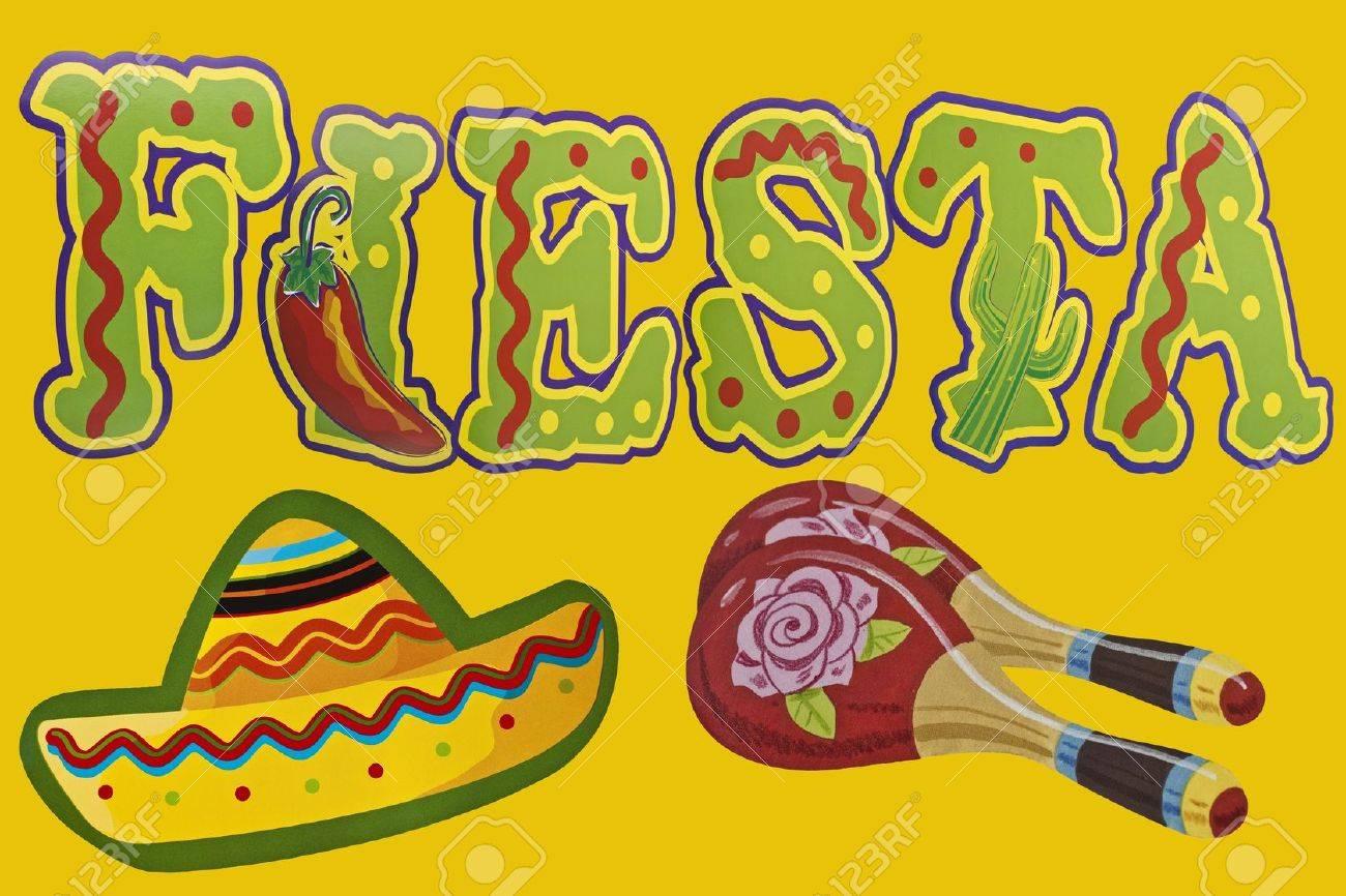 The Word Fiesta with sombrero and maracas Stock Photo - 13961455