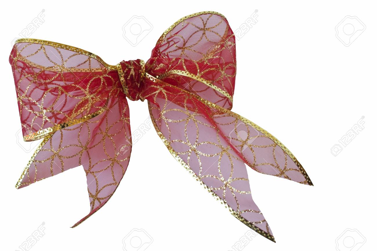 Christmas red and gold bow isolated on a white background with clipping path Stock Photo - 14085663