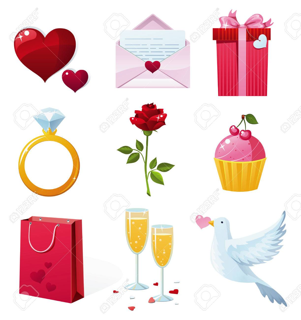 St, Valentine's Day Icons Stock Vector - 3992083