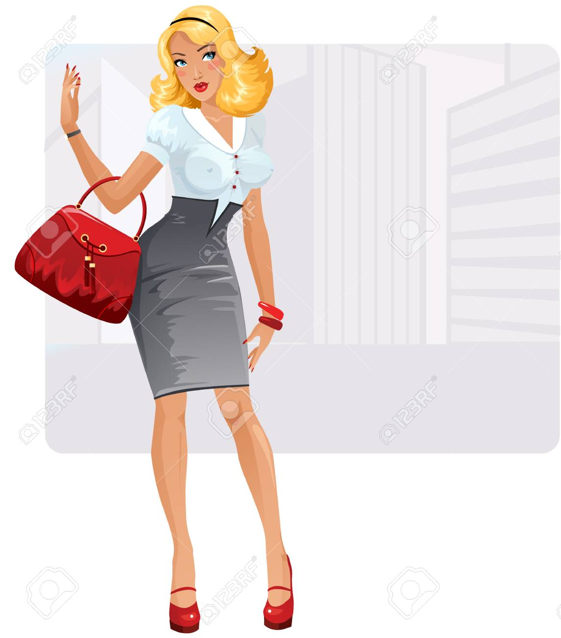 Sexy businesslady with the bag Stock Vector - 4179663