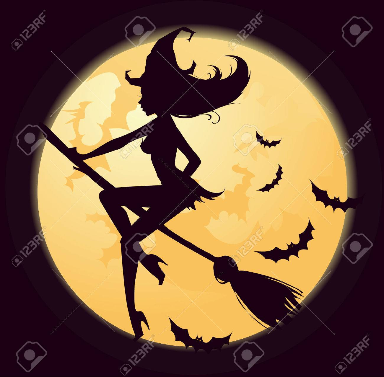 Witch silhouette Stock Vector - 5415533