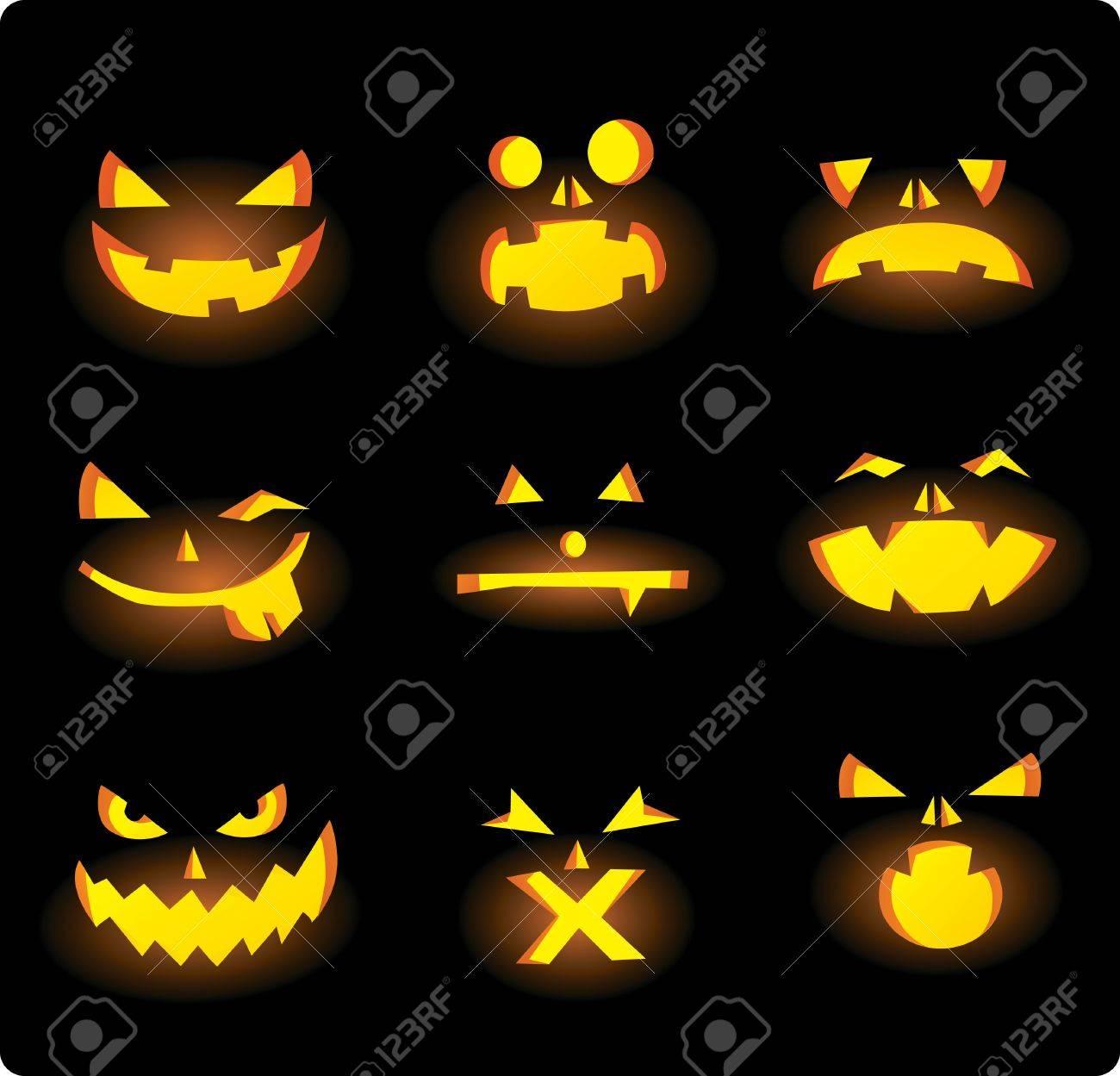 Halloween Kürbis Gesichter Geschnitzt Lizenzfrei Nutzbare