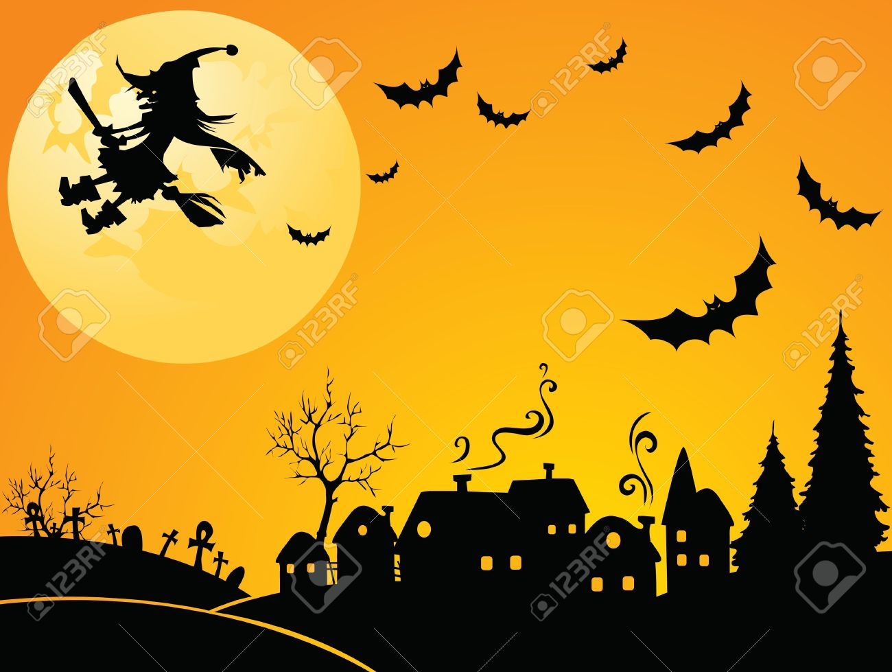 flying witch stock vector 10118793 - Flying Halloween Witch