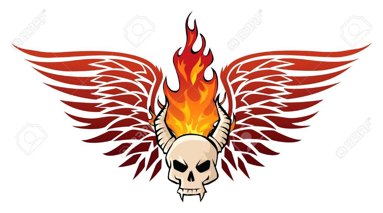 Skull in flames Stock Vector - 10587561