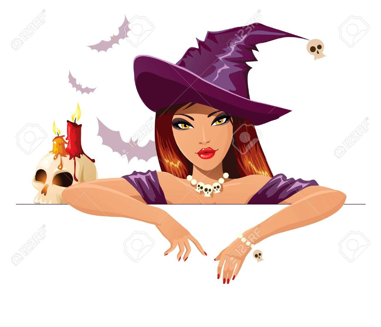 halloween witch with blank banner - 10689441