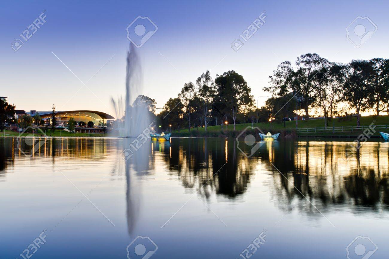 Water fountains adelaide - Stock Photo Torrens River Water Fountain At Dusk Hdr