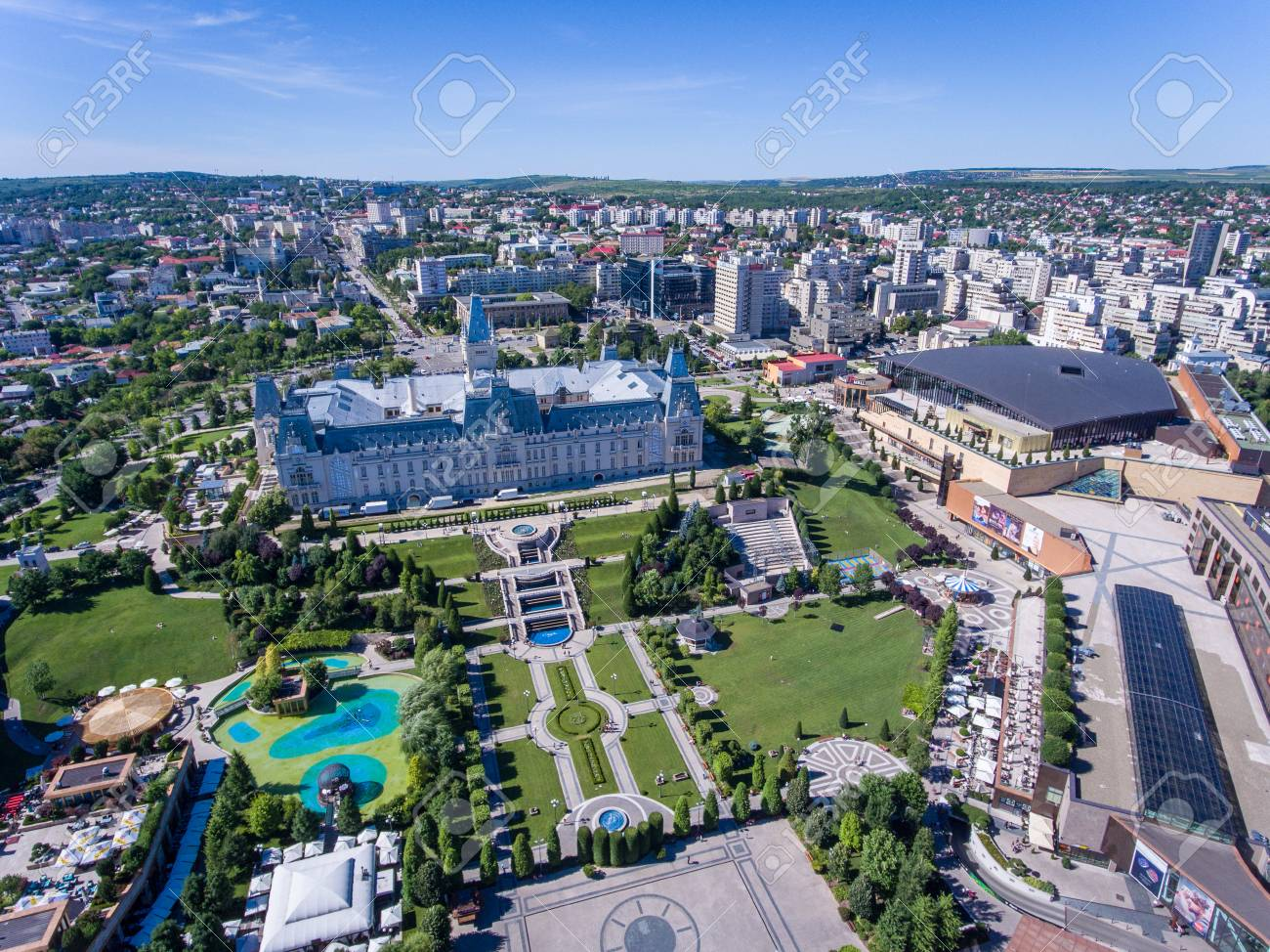 Iasi, Romania, July 2017: Iasi City Centre And Palas Mall Aerial.. Stock  Photo, Picture And Royalty Free Image. Image 83200555.