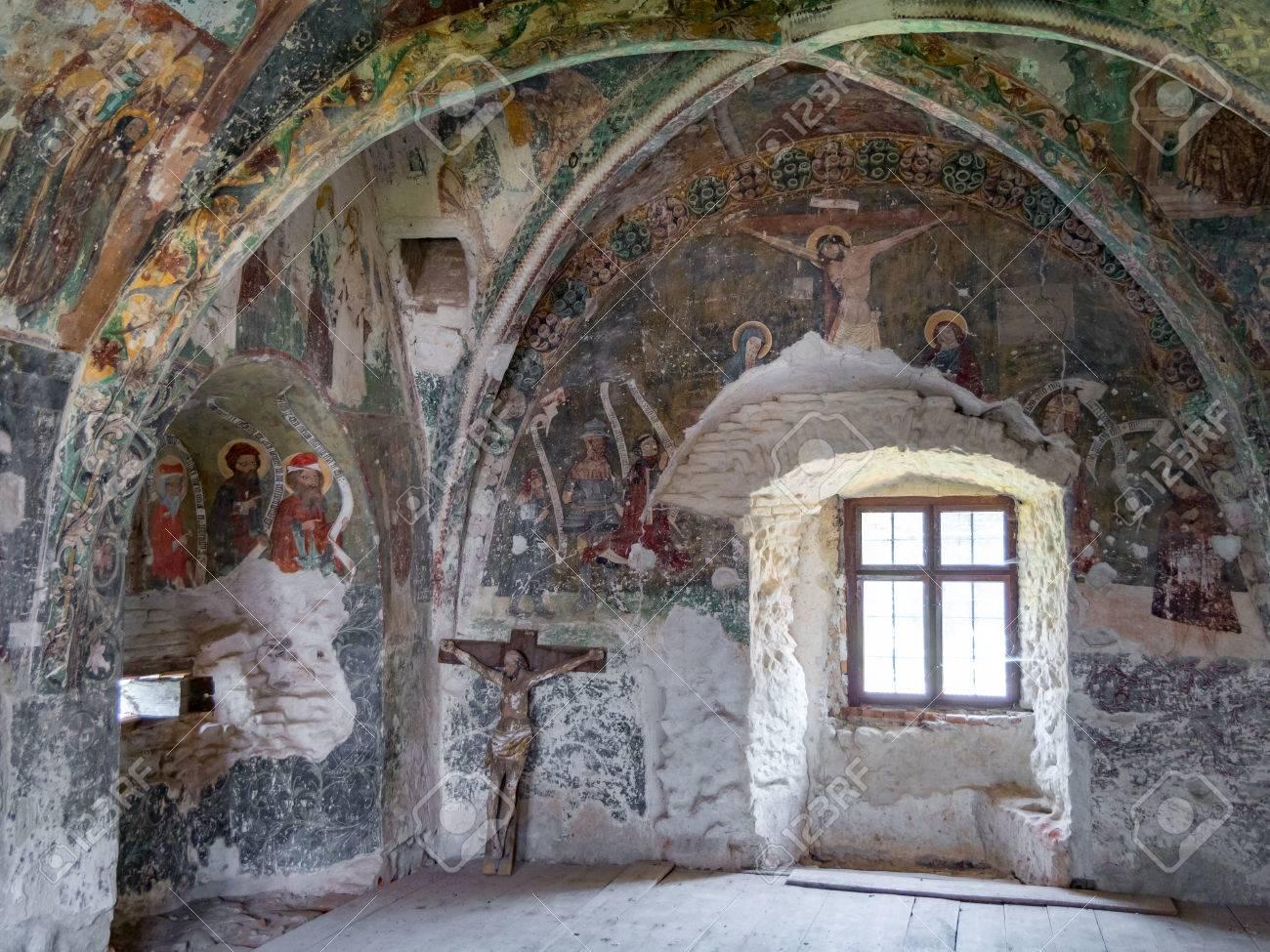 Harman, Romania, July 2017: Harman Church frescoes chapel dating back to the 13th century - 83120801