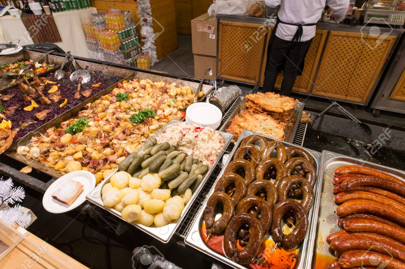 stock photo street food at the budapest christmas market in vorosmarty square hungary