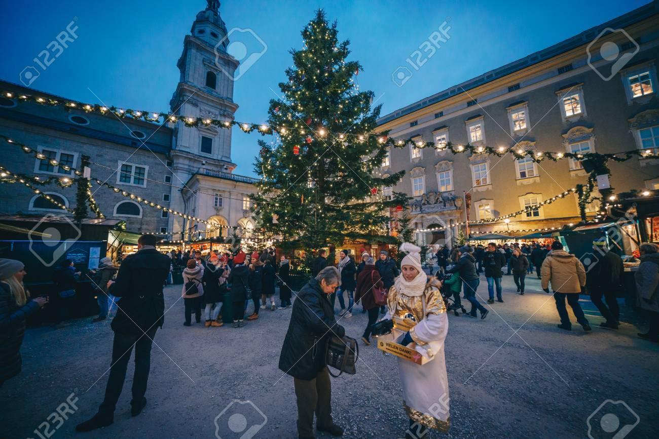 Salzburg Christmas Market.Salzburg Austria December 2018 The Christmas Market In Residenzplatz