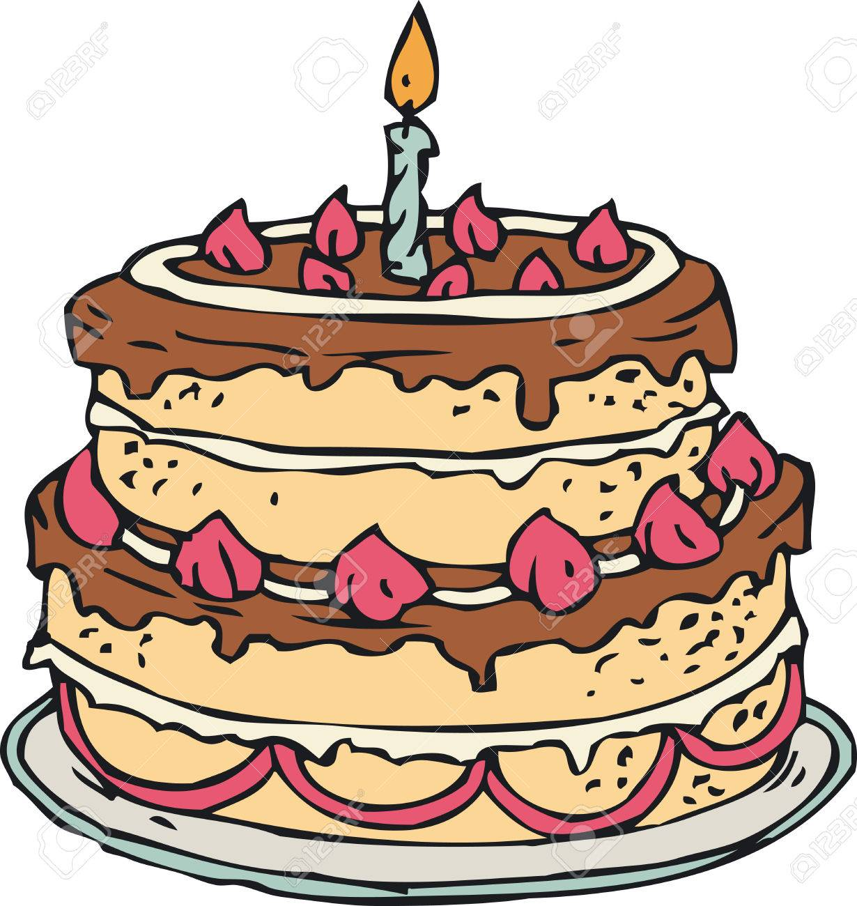 Birthday Cake With Candle Isolated On White Background Royalty Free