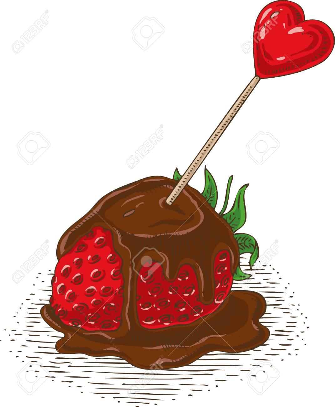 Fraise Enrobee De Chocolat Rouge Mur Avec Coeur Rouge Et Fleur Sur