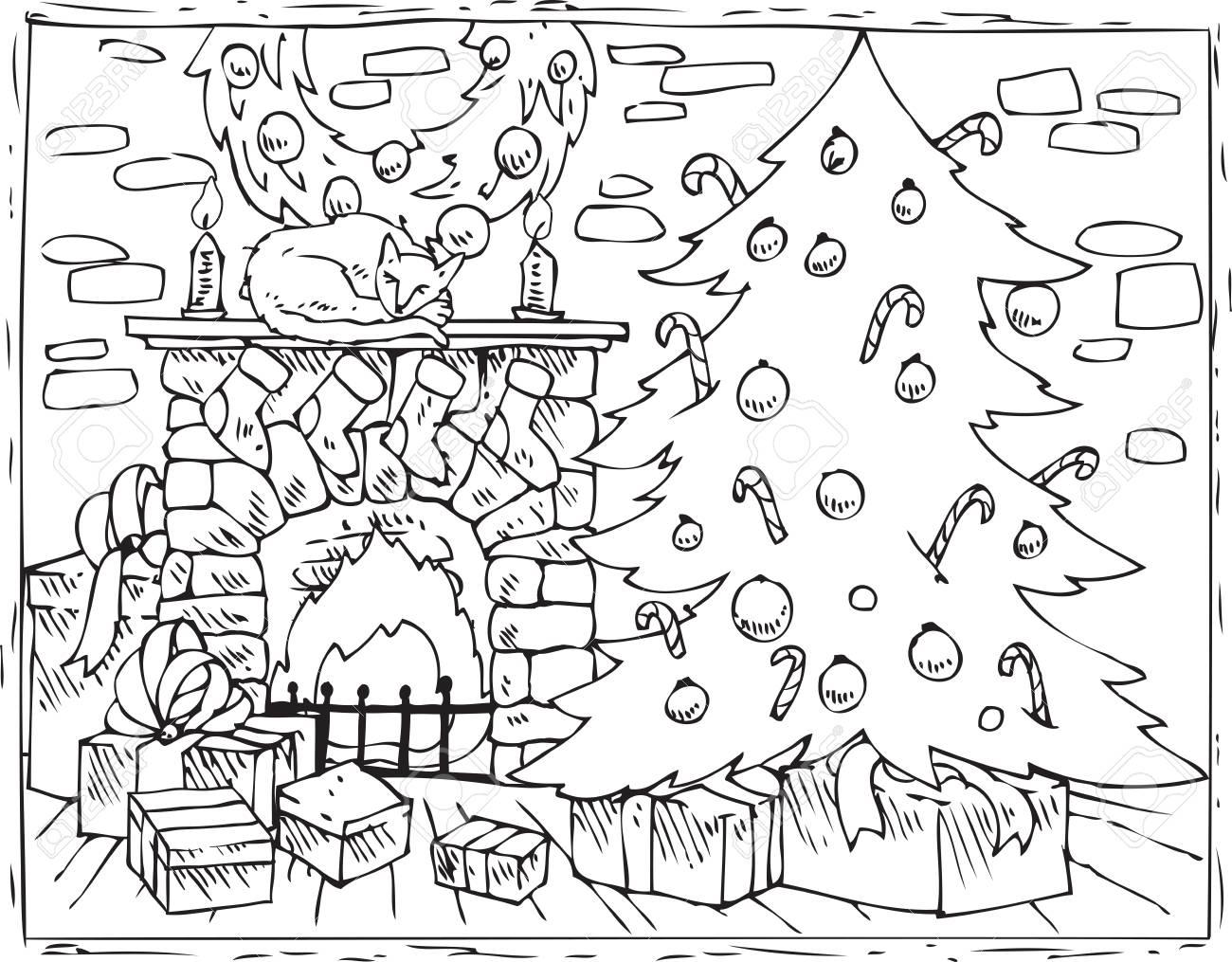 Livre De Coloriage Arbre De Noël, Cheminée Et Cadeaux Banque D
