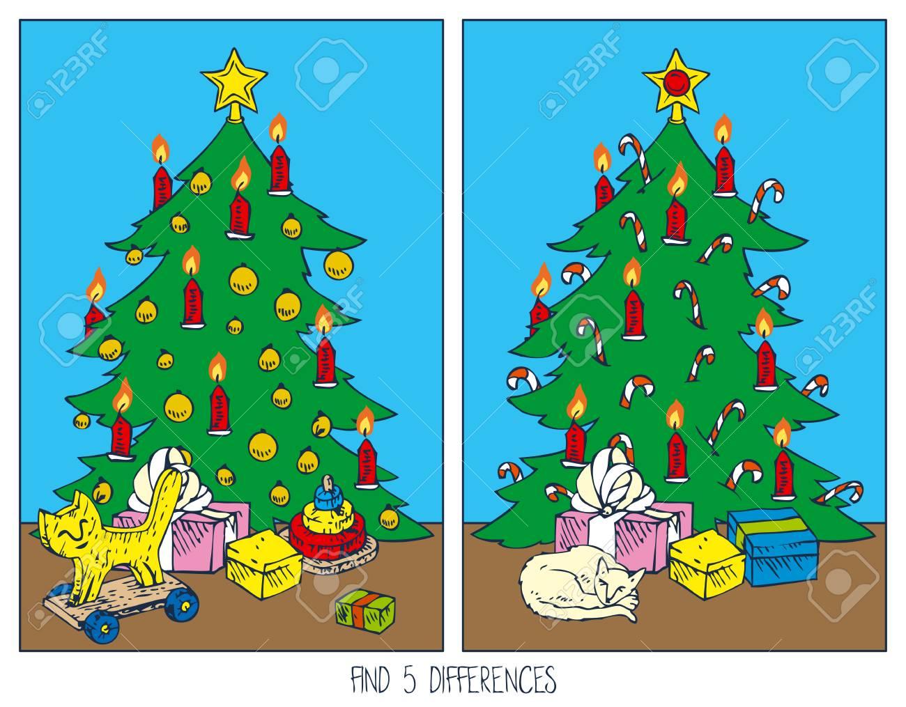 Juego De Navidad Para Ninos Encuentra Las Diferencias Arbol De