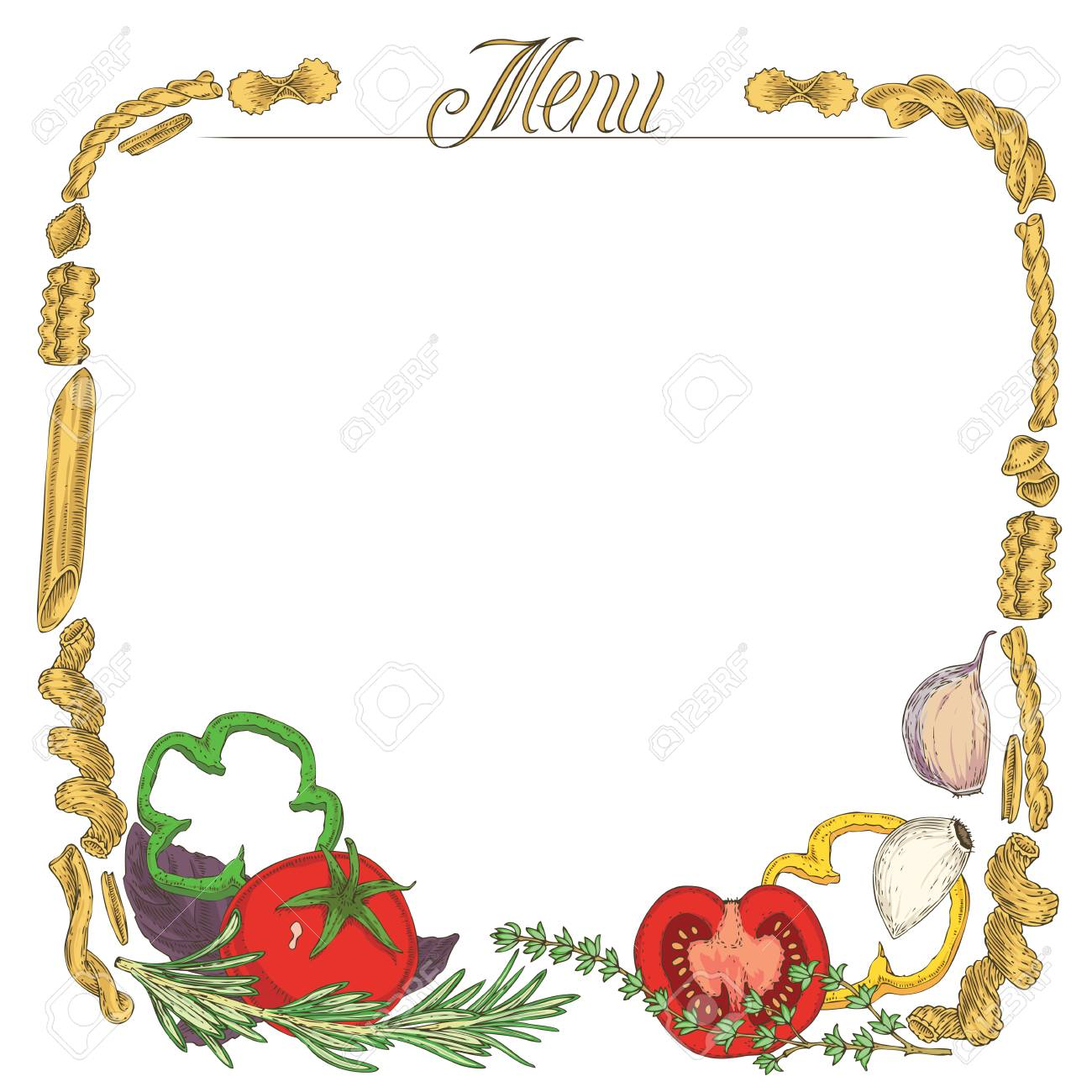 template blank menu page with border. italian pasta, tomato and