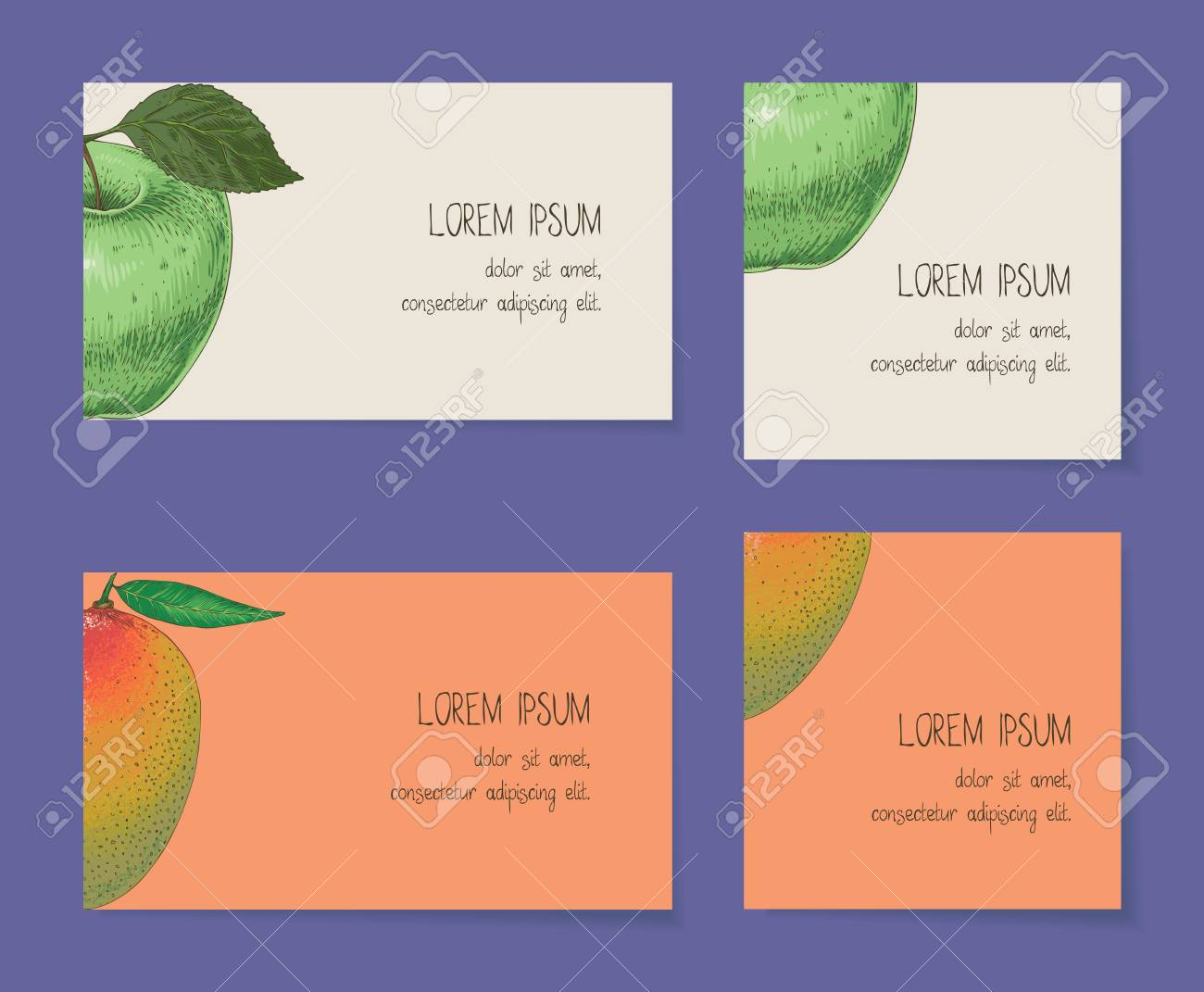 Fruit business cards template collection on a violet background fruit business cards template collection on a violet background apple mango stock photo cheaphphosting Image collections