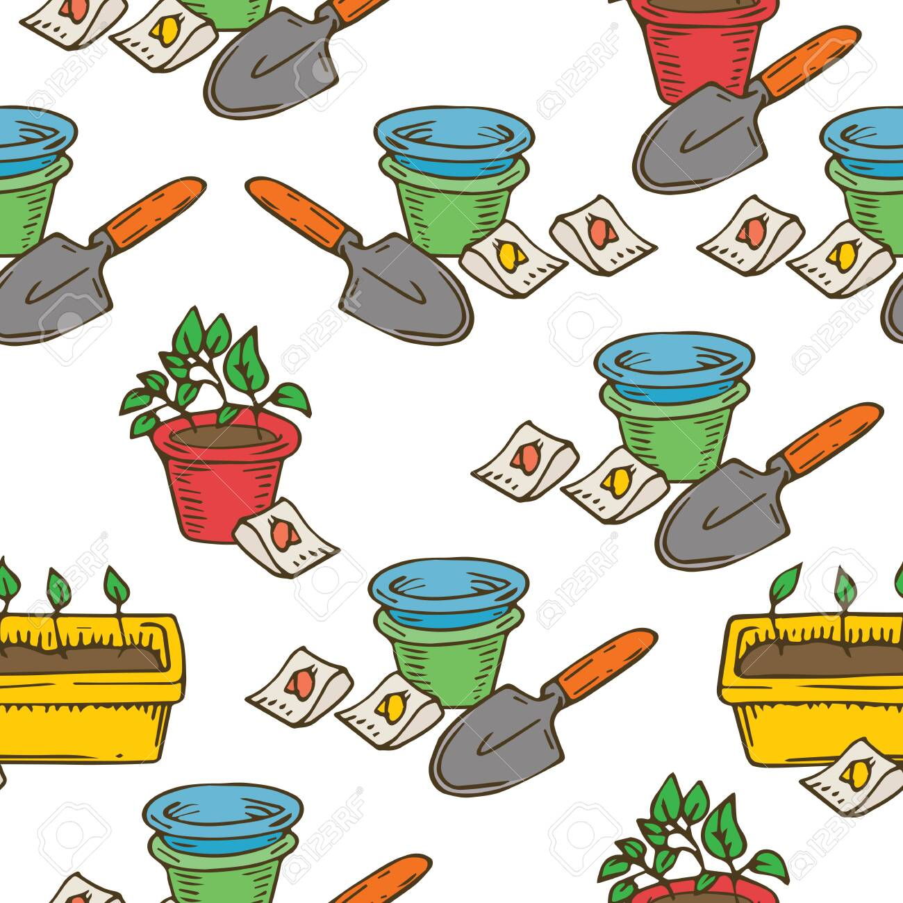 Potting Flower Seamless Pattern. Vector Illustration on White Background - 123709090