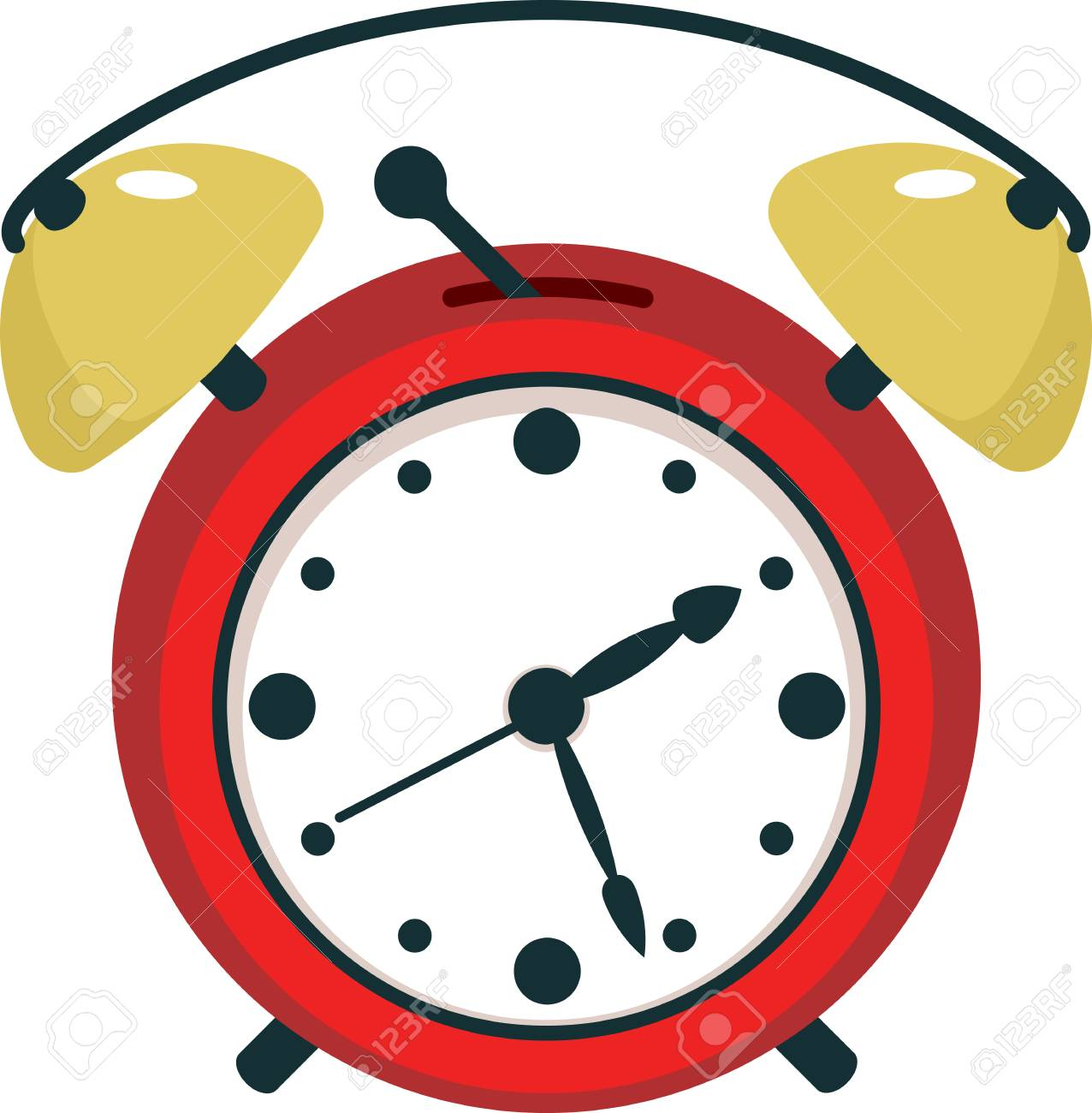 Red Twin Bell Alarm Clock in Flat Style  Isolated on White