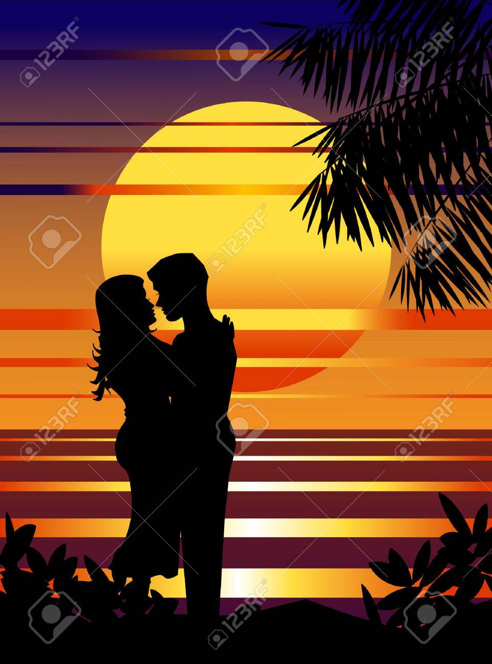 Couple in love on the sunset beach. Stock Vector - 7018690