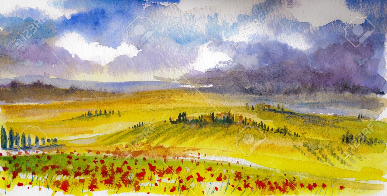 Country landscape with typical Tuscan hills in Italy. Watercolors painting. Stock Photo - 18180141
