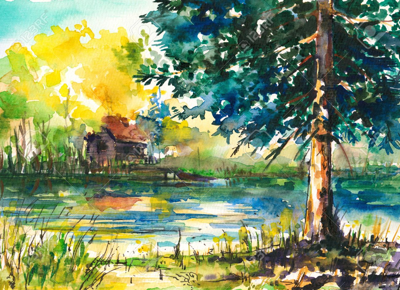 Watercolors Painted Landscape -house Near The Lake Stock Photo ...