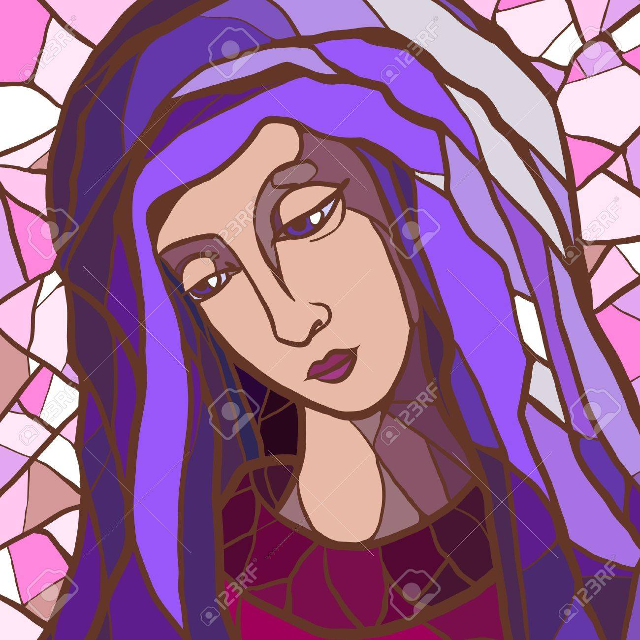 Vector illustration of Virgin Mary in stained glass Stock Vector - 18658915