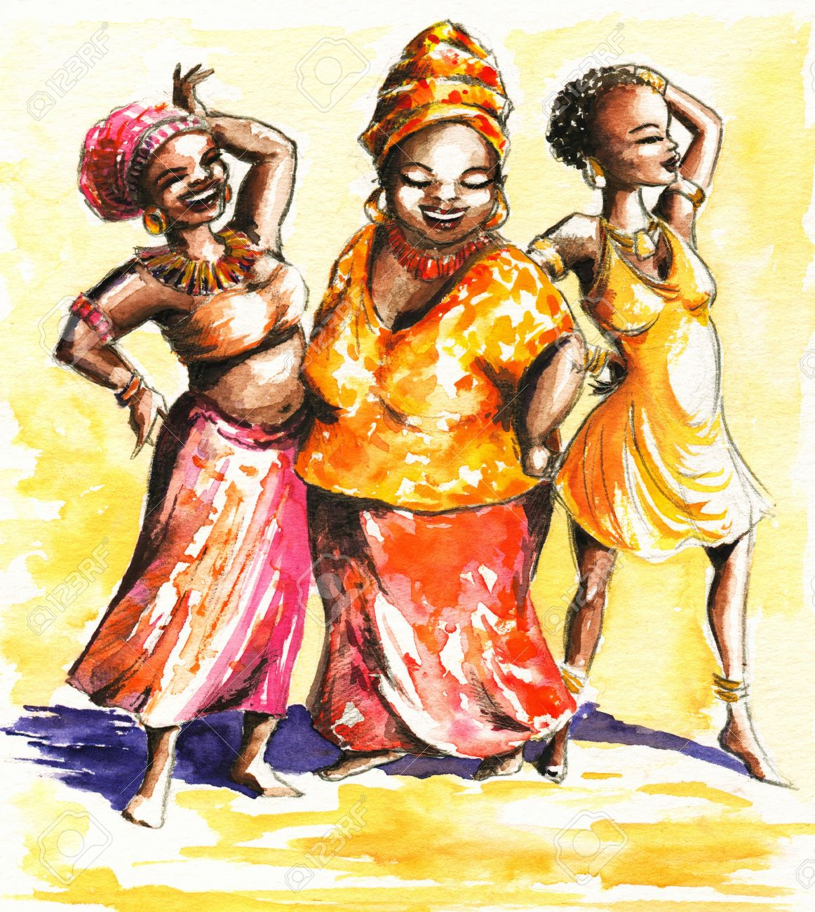 Three Happy Dancing African Women Painting Stock Photo Picture And