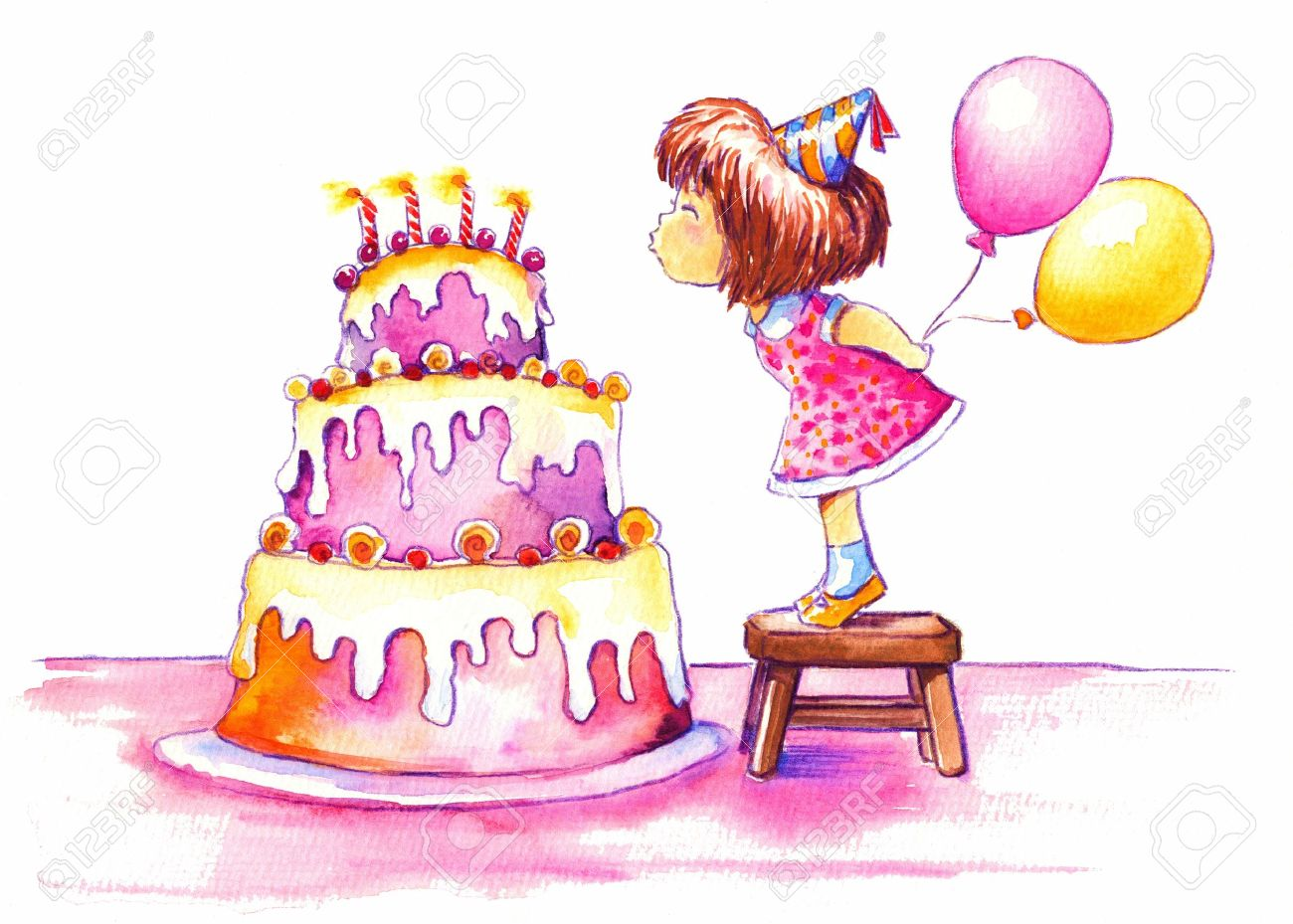 Cute Girl Blowing Out The Candles Of Her Huge Birthday Cake Picture