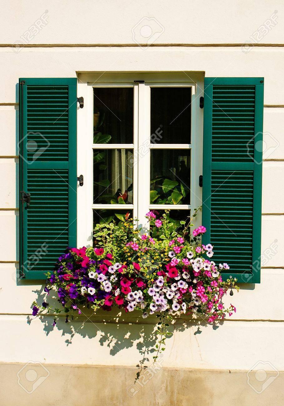 Blumenkasten Auf Das Haus Fenster Mit Grunen Fensterladen Osterreich