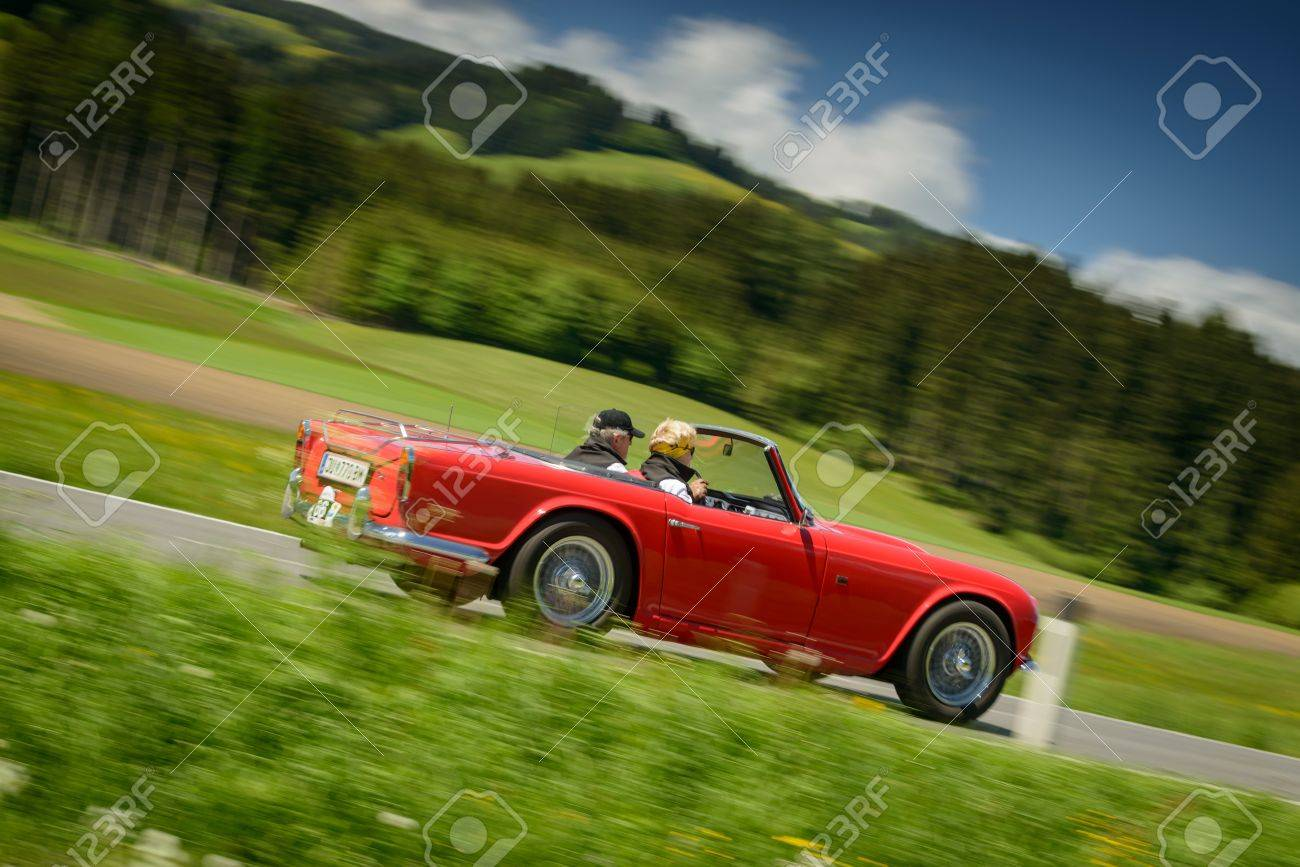Knittelfeld Austria May 18 Bernhard Wallner In A 1964 Triumph