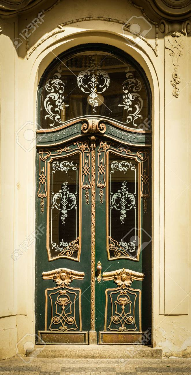 Historical Ornate Wooden Door With Glass Panes, Prague, The Czech ...