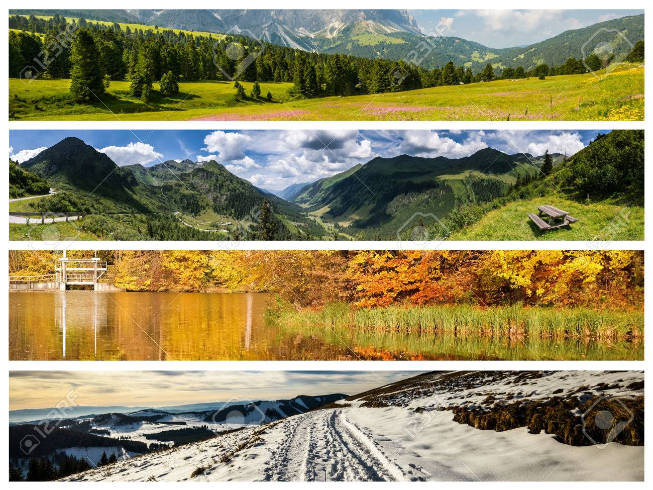 Set of the four seasons landscape for banners Stock Photo - 34619362 - Set Of The Four Seasons Landscape For Banners Stock Photo, Picture