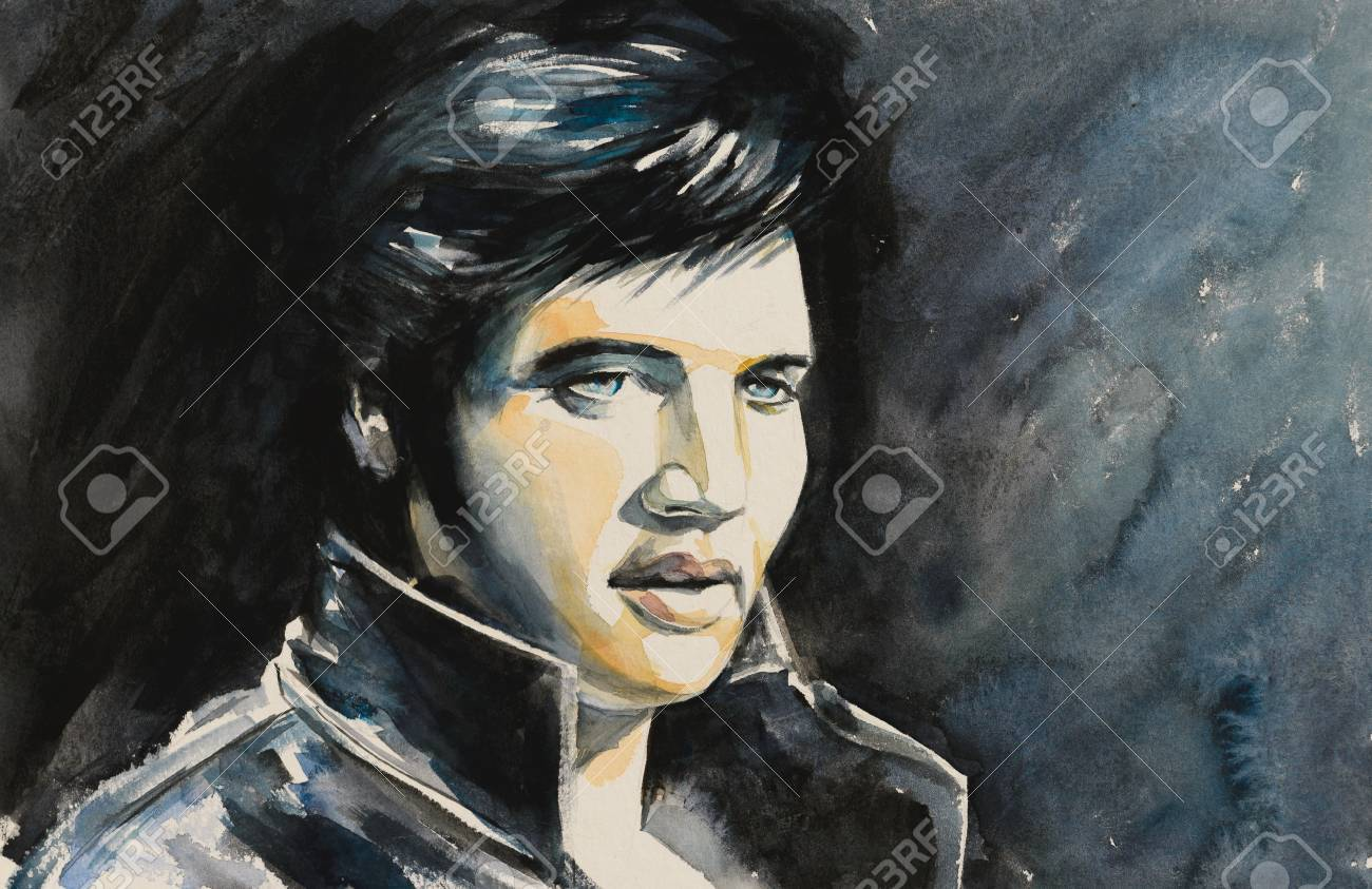 Watercolors portrait of rock and roll singer . - 110718325