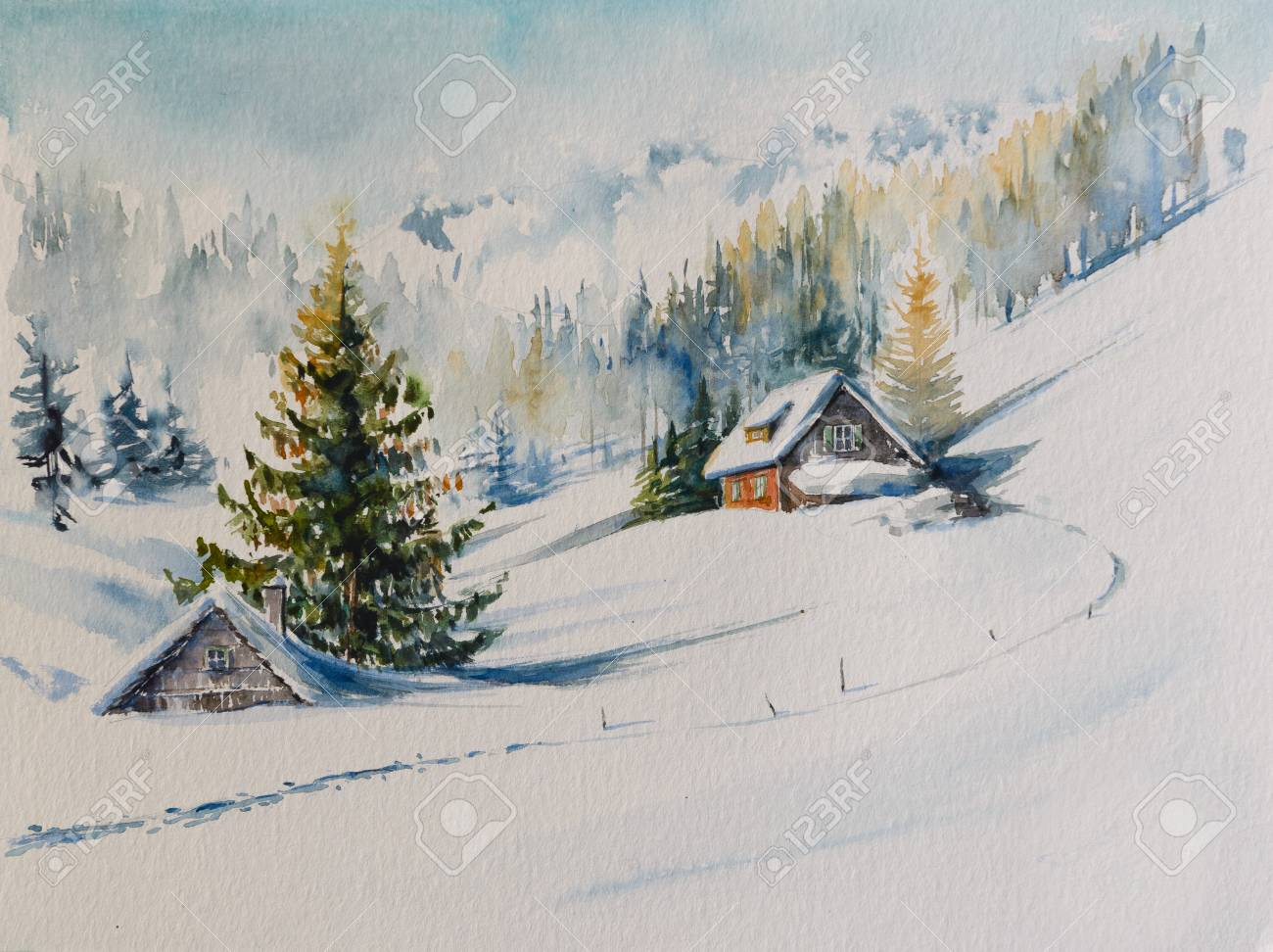 Watercolors original painting of winter mountain landscape and houses covered with snow. - 110981884