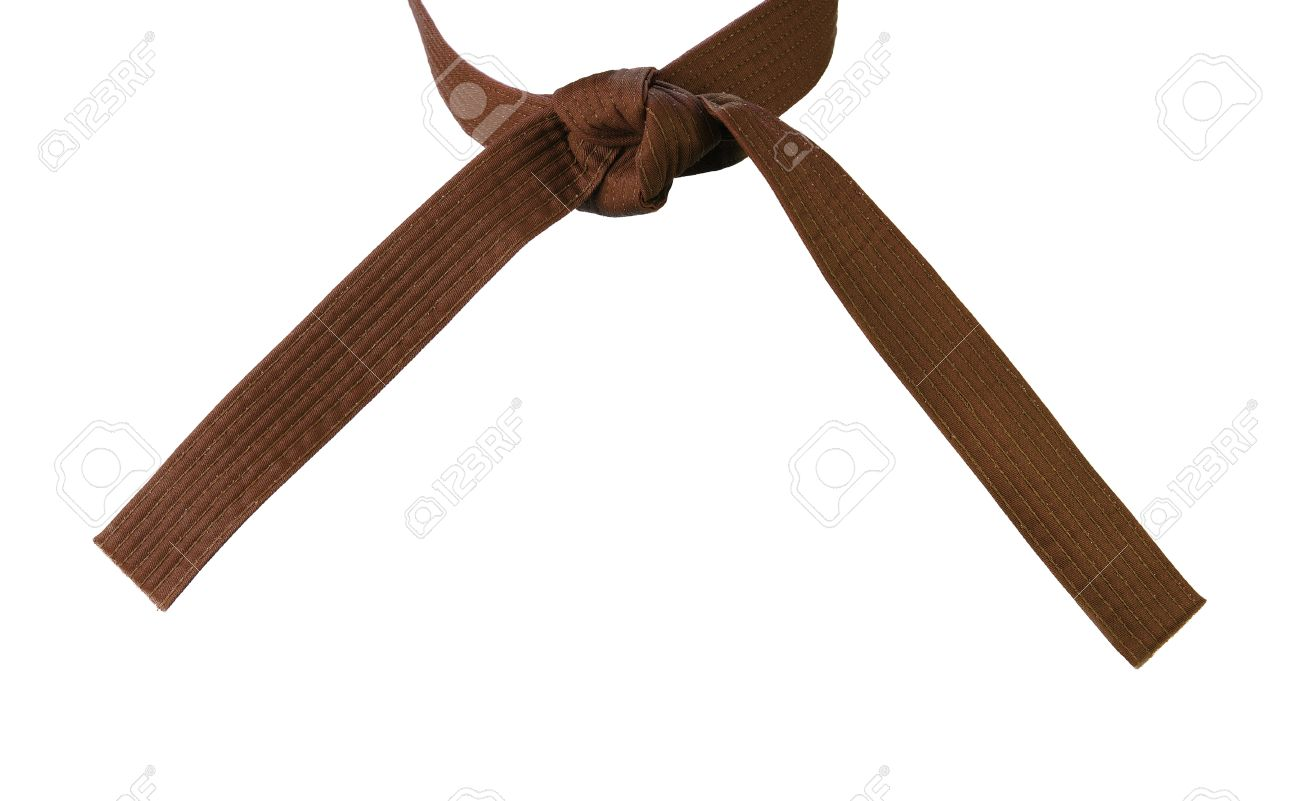 Tied Karate brown belt closeup isolated on white background Stock Photo - 16703565