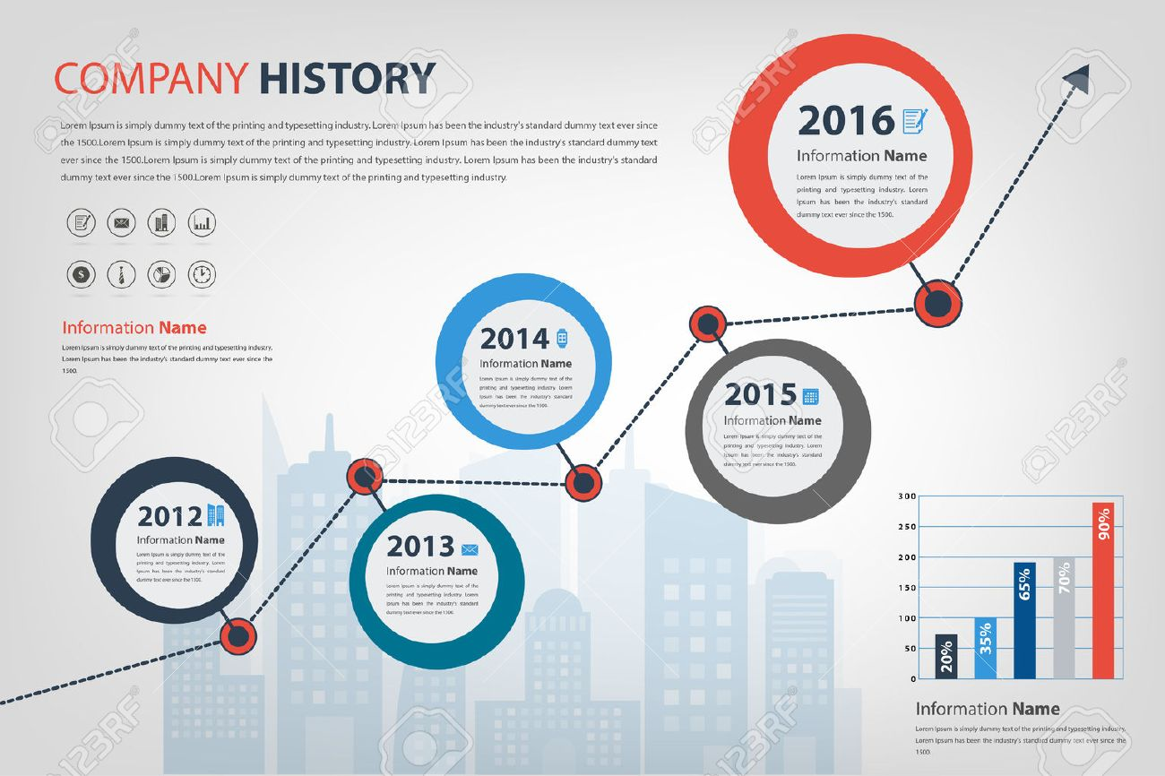 timeline & milestone company history infographic in vector style (eps10) presented in circle shape - 46190550