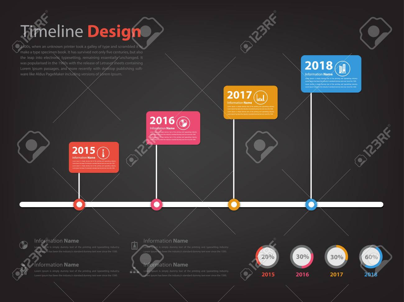 Timeline and Milestone infographic in vector eps10 with black