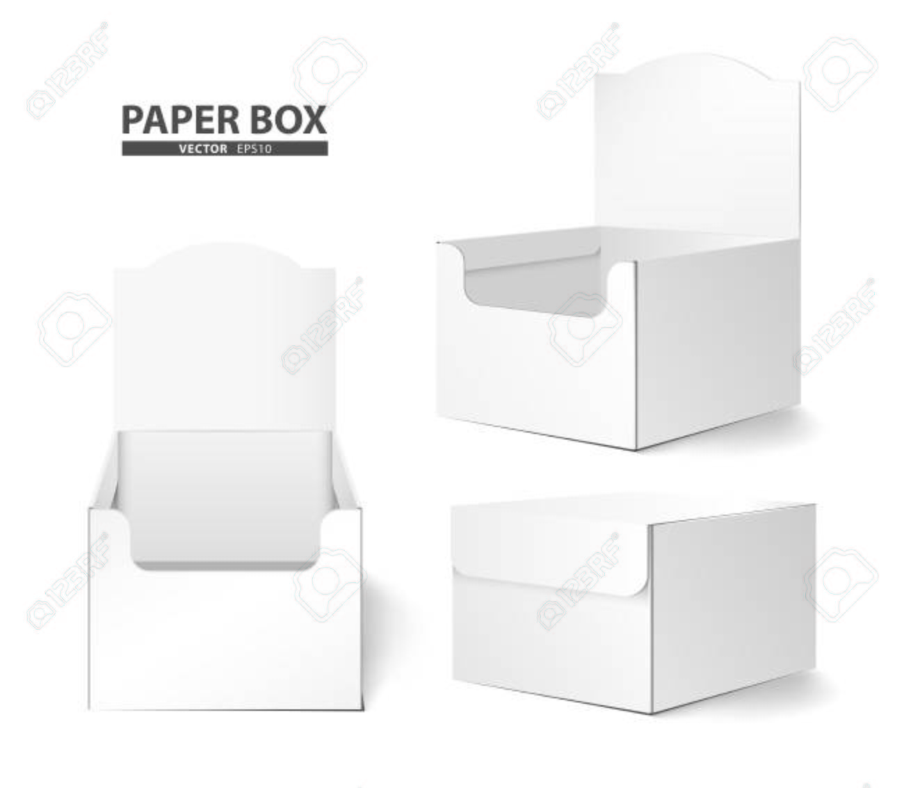 Creative Paper Box Design Package On White Background Stock Vector