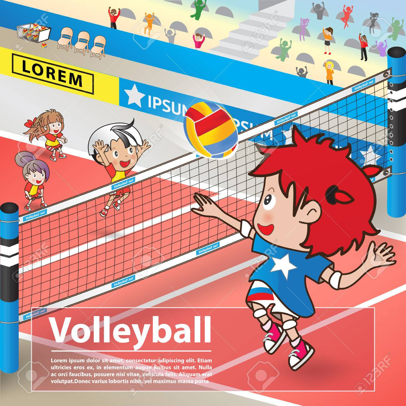 Volleyball Sport And Cartoon Character Advertising Poster Royalty